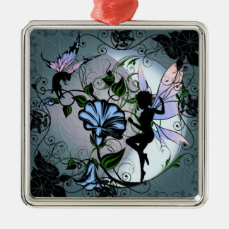 Morning Glory Shadow Fairy and Cosmic Cat Metal Ornament
