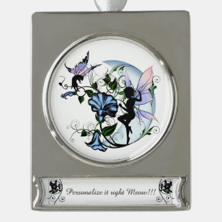 Morning Glory Shadow Fairy and Cosmic Cat Silver Plated Banner Ornament