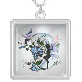 Morning Glory Shadow Fairy and Cosmic Cat Silver Plated Necklace