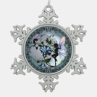 Morning Glory Shadow Fairy and Cosmic Cat Snowflake Pewter Christmas Ornament