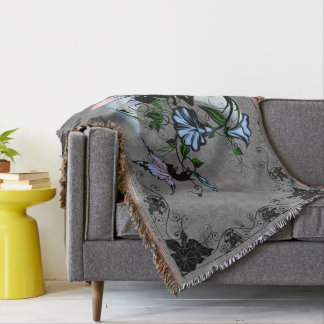 Morning Glory Shadow Fairy and Cosmic Cat Throw Blanket