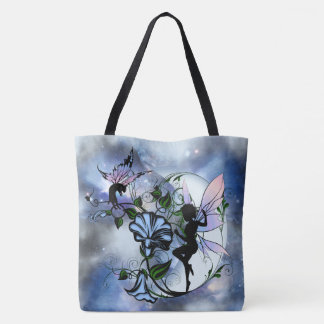 Morning Glory Shadow Fairy and Cosmic Cat Tote Bag