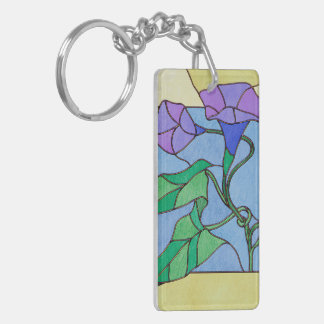 Morning Glory Stained Glass Look Key Ring