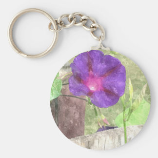 Morning Glory Watercolor Basic Round Button Key Ring