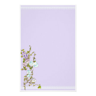 Morning Glory Watercolor Flowers Lilac Personalized Stationery