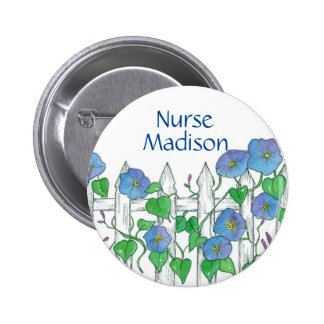 Morning Glory Watercolor Flowers Nurse Name Tag 6 Cm Round Badge