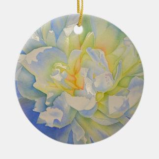 Morning Glow - white peony Ceramic Ornament