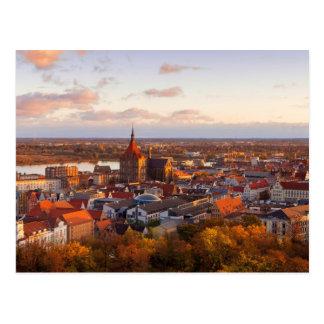 Morning in Rostock Germany postcard