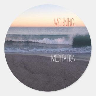 Morning Meditation Classic Round Sticker