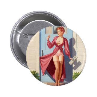 Morning Newspaper Pin-Up Girl 6 Cm Round Badge