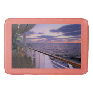 Morning on Deck Coral Border Bath Mat