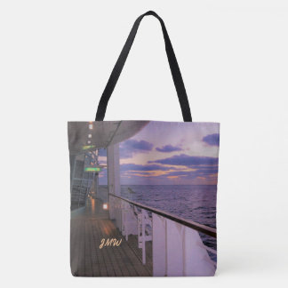 Morning on Deck Cruise with Me Monogrammed Tote Bag