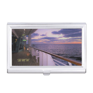 Morning on Deck Monogrammed Business Card Holder