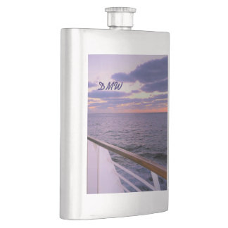Morning on Deck Monogrammed Flask