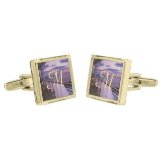 Morning on Deck Monogrammed Gold Finish Cuff Links