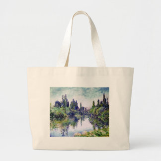 Morning on the Seine, near Vetheuil - Claude Monet Large Tote Bag