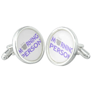 MORNING PERSON - strips - blue and gray. Cufflinks
