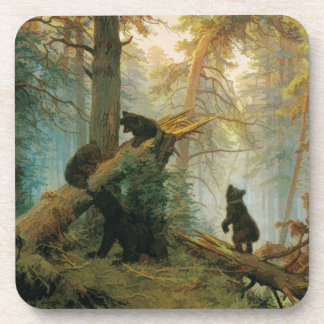 Morning Pine Forest with Playful Bears Vintage Coaster