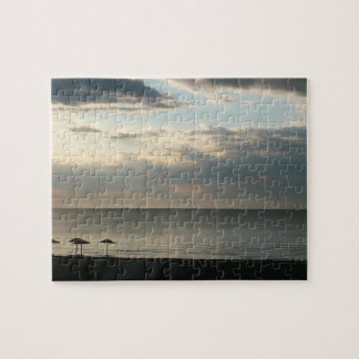 Morning sky over Greek beach photography Jigsaw Puzzle
