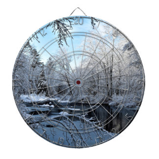 Morning Sun on Snow Covered Sheepscot River Dartboard