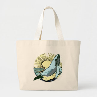 Morning sun whale 2 large tote bag