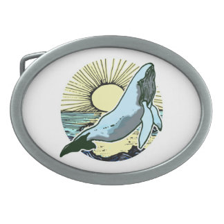 Morning sun whale 2 oval belt buckles