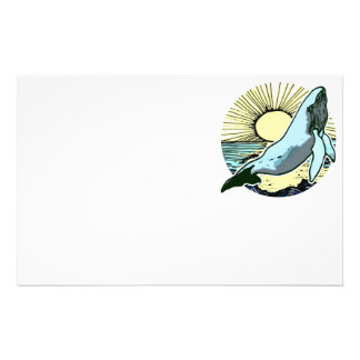 Morning sun whale 2 personalized stationery