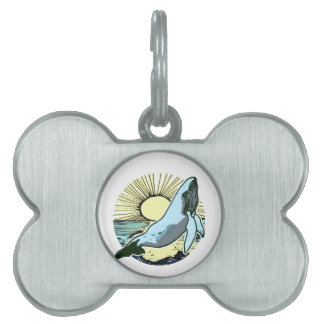 Morning sun whale 2 pet name tag