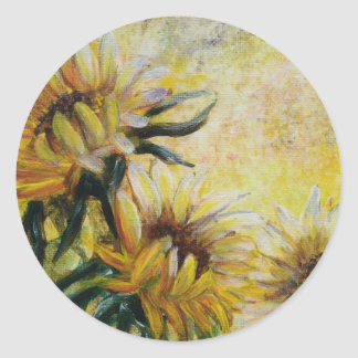 Morning sunflowers, Floral painting Classic Round Sticker