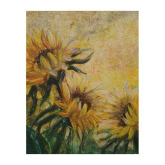 Morning sunflowers painting wood print