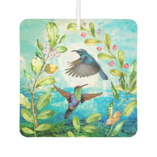 Morning Sunrise Hummingbirds Scenic Nature Art Car Air Freshener