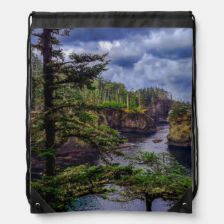morning sunrise Olympic peninsula Cape Flattery Drawstring Bag