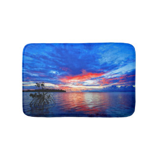 Morning Sunrise Over Tropical Shallow Sea Bath Mat