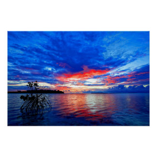 Morning Sunrise Over Tropical Shallow Sea Poster