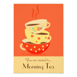Morning Tea retro tea cups party 13 Cm X 18 Cm Invitation Card