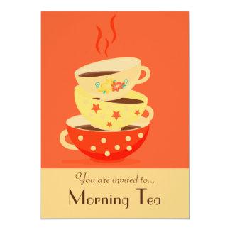 Morning Tea retro tea cups party 5x7 Paper Invitation Card