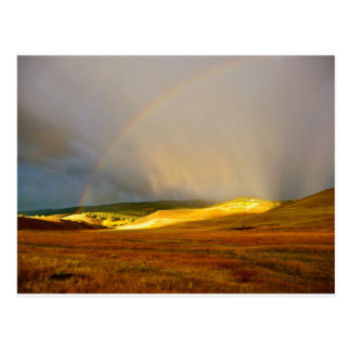 Morning Thunderstorm Mountain Rainbow Postcard