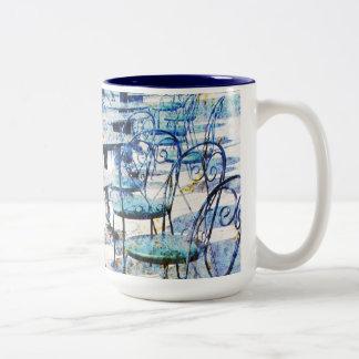 morning vintage french cafe Two-Tone coffee mug