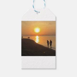 Morning walk on the beach gift tags