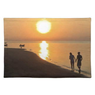 Morning walk on the beach placemat