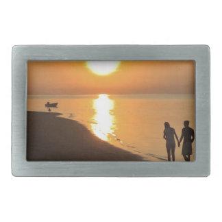 Morning walk on the beach rectangular belt buckle