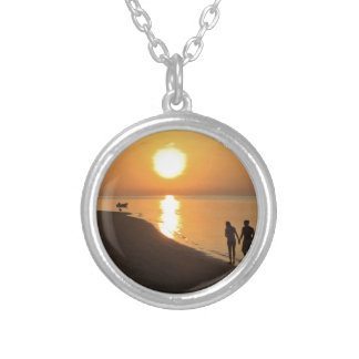 Morning walk on the beach silver plated necklace