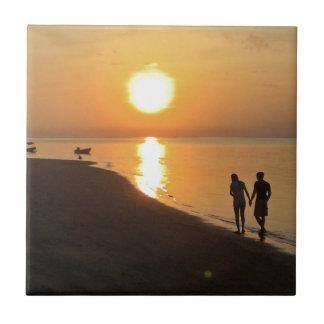 Morning walk on the beach tile