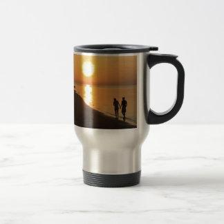 Morning walk on the beach travel mug