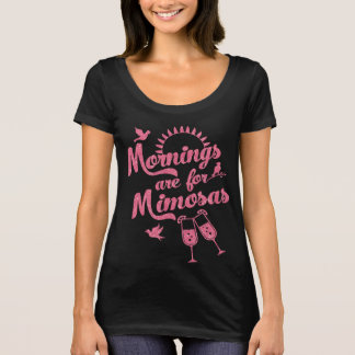 Mornings are for Mimosas Brunch Pink Faux Glitter T-Shirt