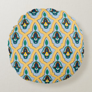 Moroccan arabic tracery pattern in blue and yellow round cushion