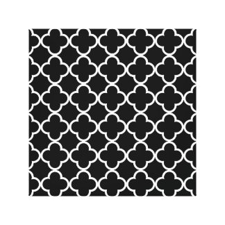Moroccan Black White Quatrefoil Pattern Gallery Wrapped Canvas