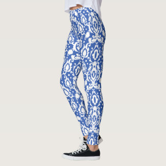 Moroccan Blue and White Casbah Damask Leggings