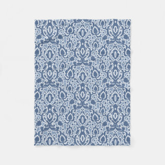 Moroccan Blue Gray Casbah Damask Fleece Blanket