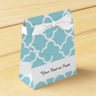 Moroccan Blue White Quatrefoil Pattern Party Favour Box